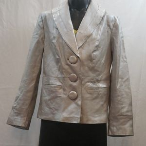 Terry Lewis Classic Luxuries Silver Leather Jacket